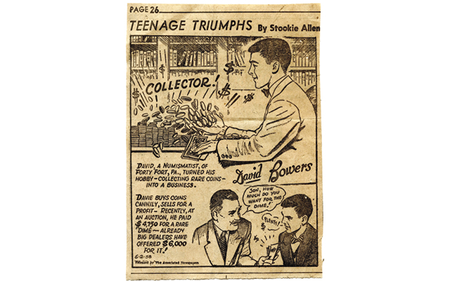 "Our hobby is ripe for entrepreneurship for those willing to work. This 1958 cartoon features hobby legend Q. David Bowers as a teenager who ""turned his hobby — collecting rare coins — into a business.""  Image courtesy of Q. David Bowers."