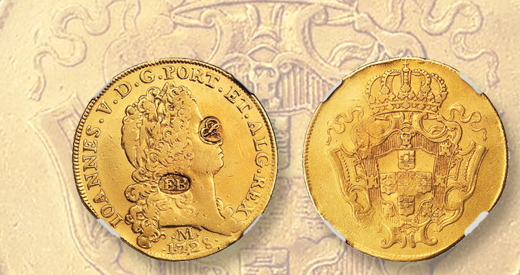 'Double joe' 12,800-real counterstamped $16 coin tops $100,000