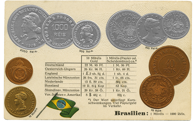 A post card showing coins of Brazil is appreciated for the varied, and novel, denominations of the Brazilian series, as well as some designs showing Liberty.