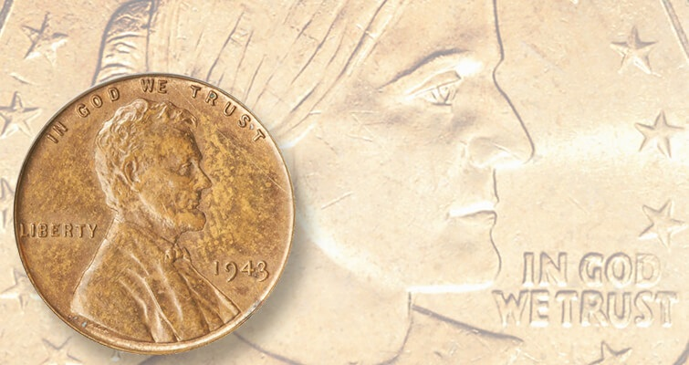1943 bronze cent w/ 1999-P Anthony on manganese brass