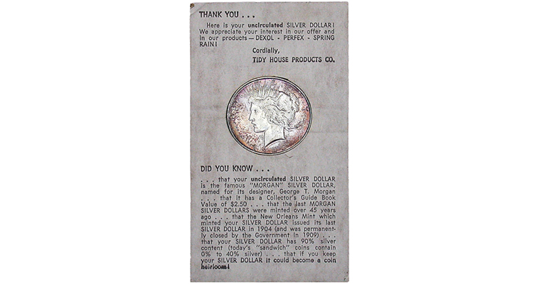 This 1923-D Peace dollar was offered recently in an online auction, displayed in packaging that identifies the former occupant as a Morgan dollar. See enlarged text in next image.