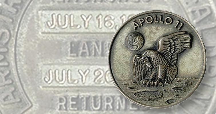 Buzz Aldrin Robbins medal lead Apollo Flown Sample Containment Bag