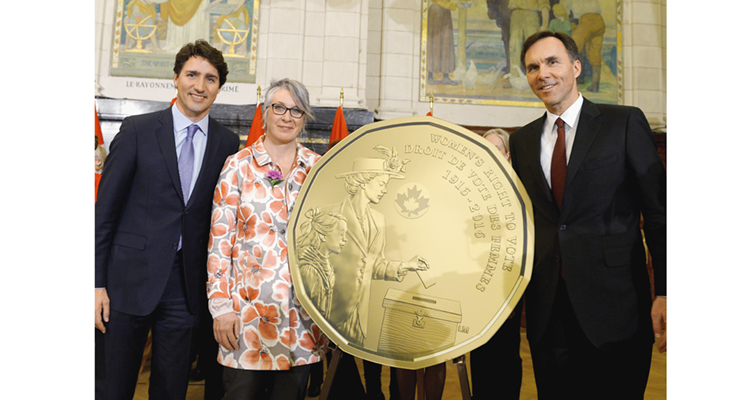 canada-right-to-vote-dollar-unveiling-with-prime-minister-trudeau