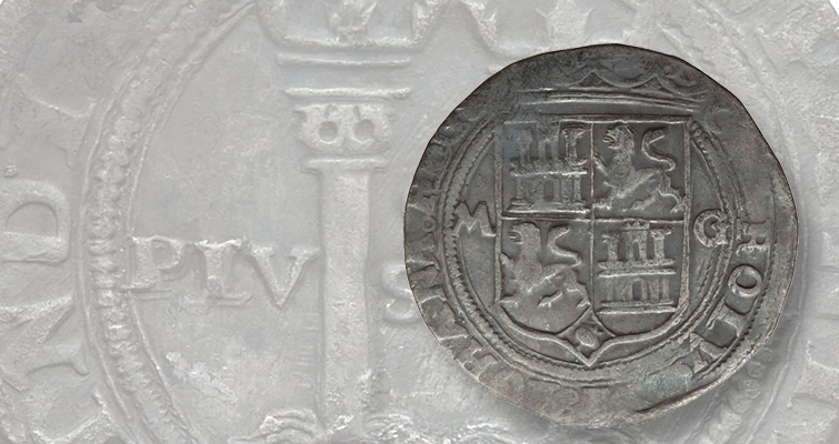 This 2-real coin, issued in the name of Carlos and Johanna, was struck at Mexico City in the mid-16th century.