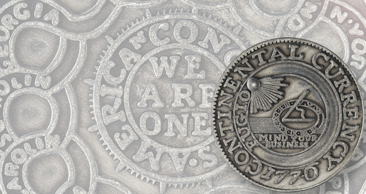 Cato Institute issues pewter 1776 Continental Currency dollar replica