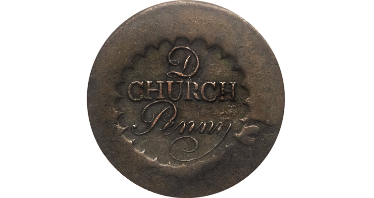 This uniface 1790 Albany, N.Y., church penny, sold for $115,000 at a Heritage Auctions sale in January 2012.