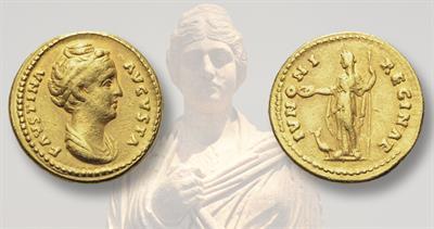 Gold aureus of Faustina the Elder