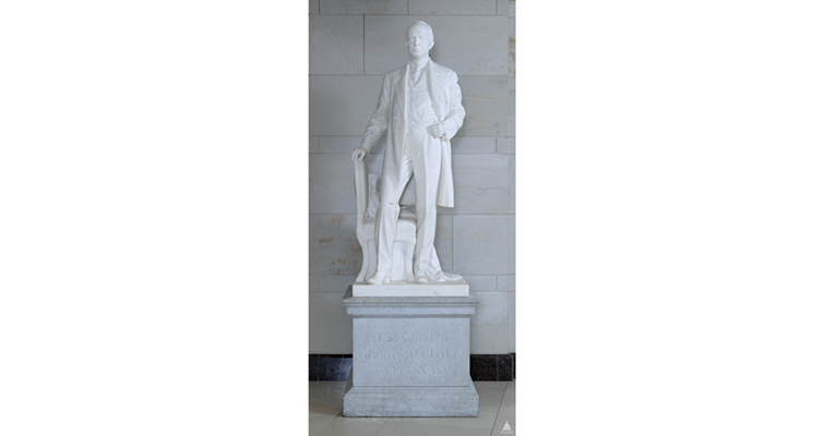 Coppini sculptered the statue of Arkansas Sen. James Paul Clarke placed in the National Statuary Collection of the Capitol in 1921. Theodore Roosevelt credited Clarke with the bill authorizing construction of the Panama Canal.