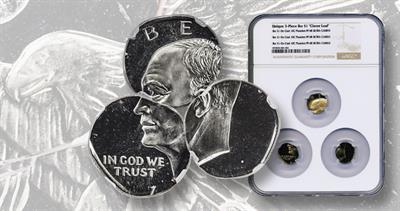 Eisenhower dollar on three dime planchets