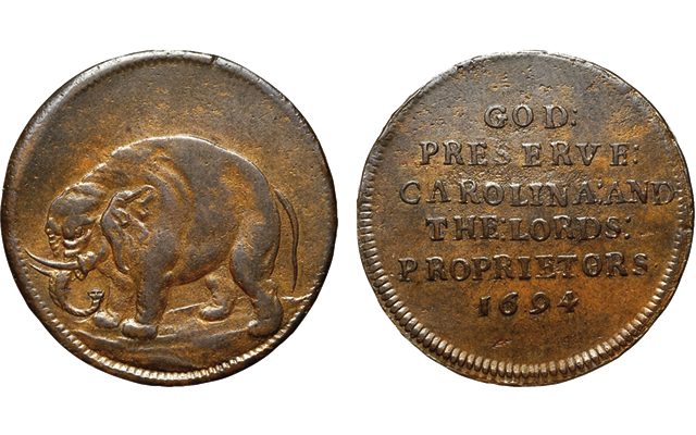 1694 Elephant token promoting the Carolina Plantation in the American colonies sells for $47,000