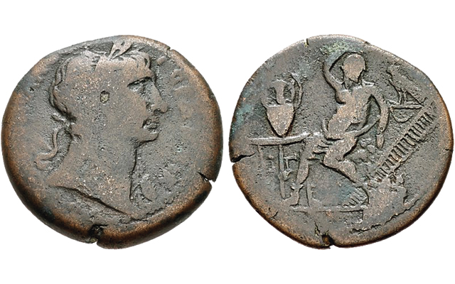 Bronze drachm of Trajan shows Egyptian god of Nile River flooding
