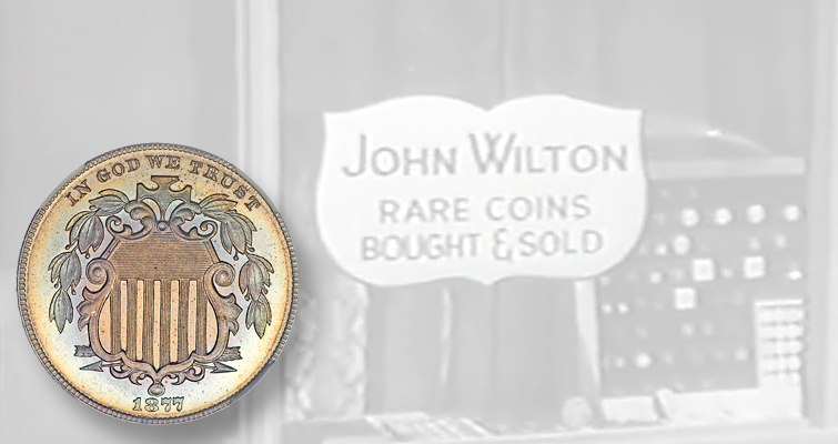A fictional coin story on television of an 1877 Shield 5¢ coin: Coin Lore