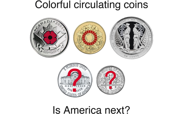 Colorful coins have been entering circulation around the world. Will the U.S. Mint be next?  Coin World graphic by Lori Billing.