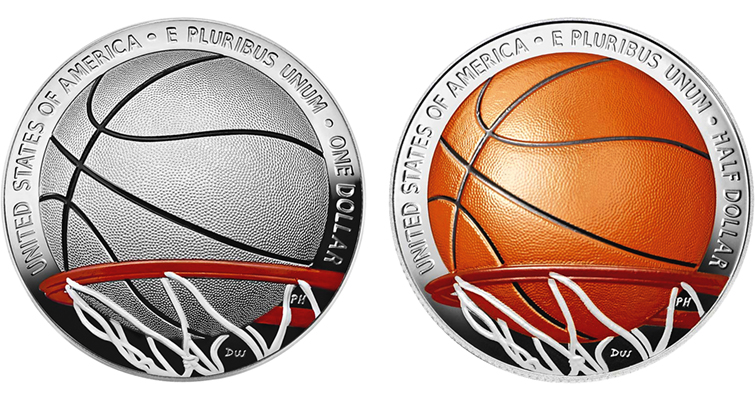 Colorized basketball coin
