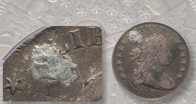 Rare 1801 Draped Bust dollar has a plugged hole: Market Analysis
