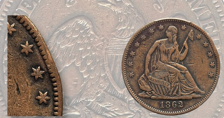 Seated Liberty half dollar pattern with damage affordable: Market Analysis