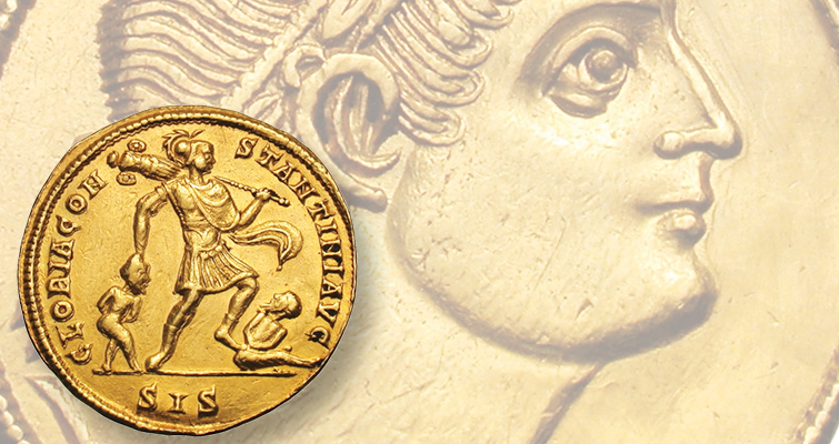 Constantine the Great looks toward heaven on the obverse of this gold 1 1/2 solidus medallion. The reverse shows the emperor dragging a captive and stepping on another.
