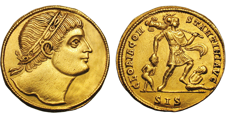 Heritage Auctions sold this Very Fine 1-1/2 solidus  gold medallion, showing the saintly Constantine gazing upward on one side and dragging and walking on captives on the other, for $16,675 in 2011.