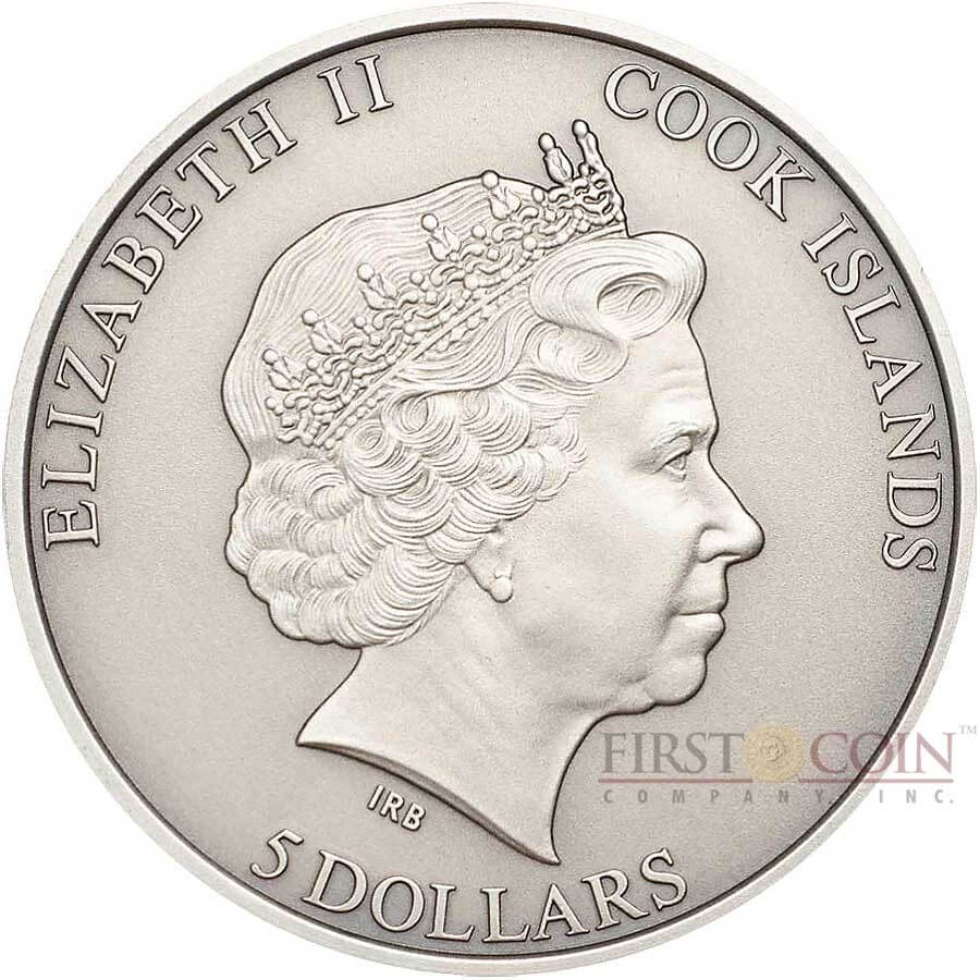 The obverse of the Cook Islands Space Shuttles coin features the Ian-Rank Broadley effigy of Queen Elizabeth II.