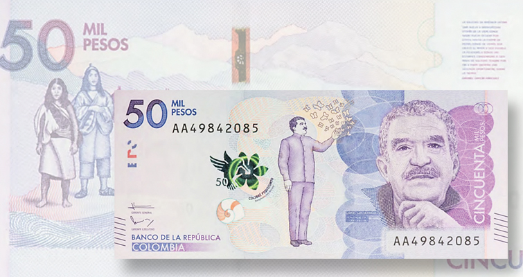 Colombia's new 50,000-peso note honors nation's greatest writer