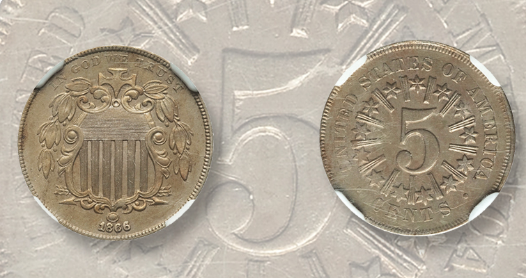 Inside Coin World 1866 Shield 5-cent coin