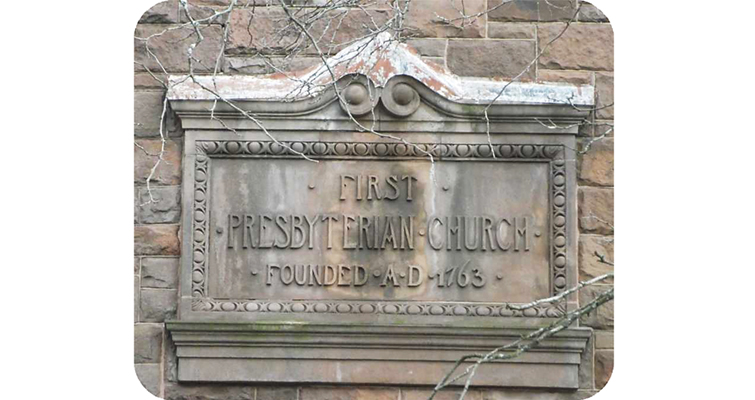 Cornerstone of First Presbyterian Church of Albany, N.Y., founded in 1763.