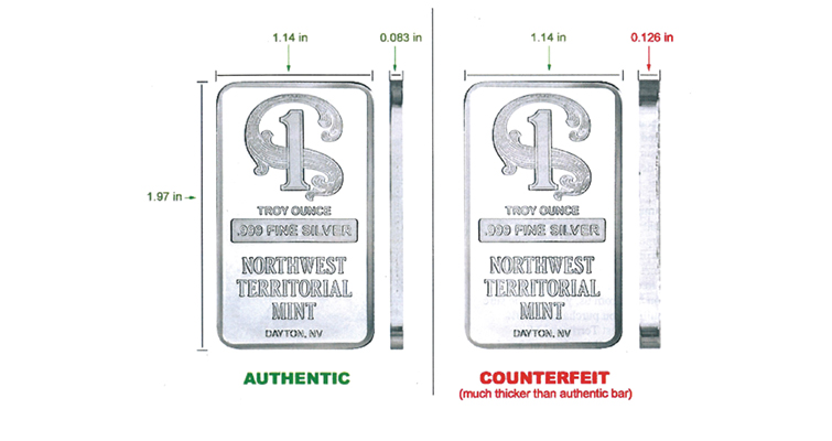 Counterfeit silver bar graphic