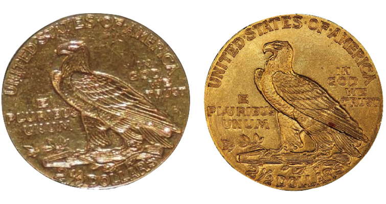 The 1911 $2.50 Indian Head coin, left, raises suspicion and lowers bidding activity.