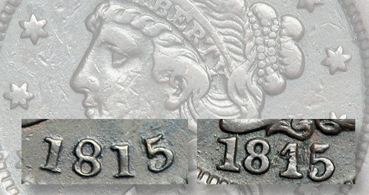 Although cents may have been struck in late 1815, none was struck from dies dated 1815; the dies were likely dated 1814. Some real large cents have had their dates altered to read 1815. The date shown at left is from an 1813 Classic Head cent that was modified, and the date at right is from an 1845 Coronet cent that was modified. Any cent with an 1815 date is either altered or a counterfeit.