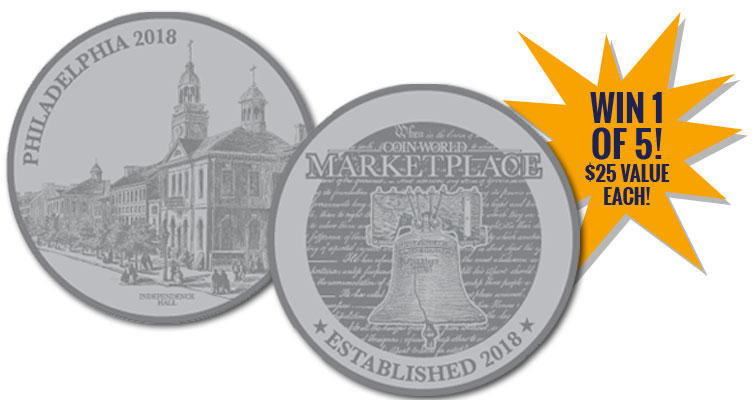 Coin World Marketplace Launch Edition Medal Sweepstakes