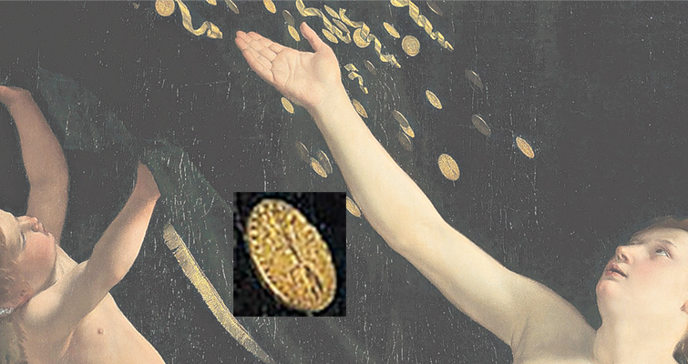 "A detail of the top of the painting of ""Danaë"" by Italian Baroque painter Orazio Gentileschi depicts gold coins with Jupiter's thunderbolt. The painting will be offered at auction in January 2016."