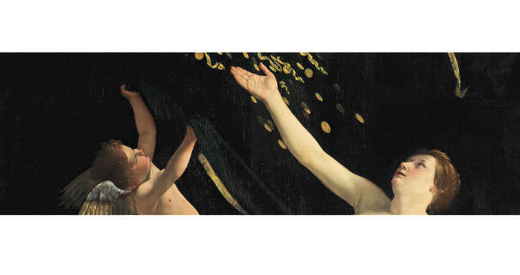 "Orazio Gentileschi's ""Danaë,"" 1621 or 1622, stars in Sotheby's Jan. 27, 2016, sale of Old Master Paintings in New York, with a presale estimate of $25 million to $35 million. Here Danaë is showered with gold coins, some marked with Jupiter's thunderbolt, in harmony with the legend."