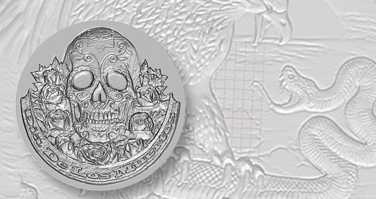 "Choice Mint's new line of 2-ounce, high-relief silver rounds is called ""Dia De Los Muertos,"" with images reflecting a Mexican holiday celebrating the dead."