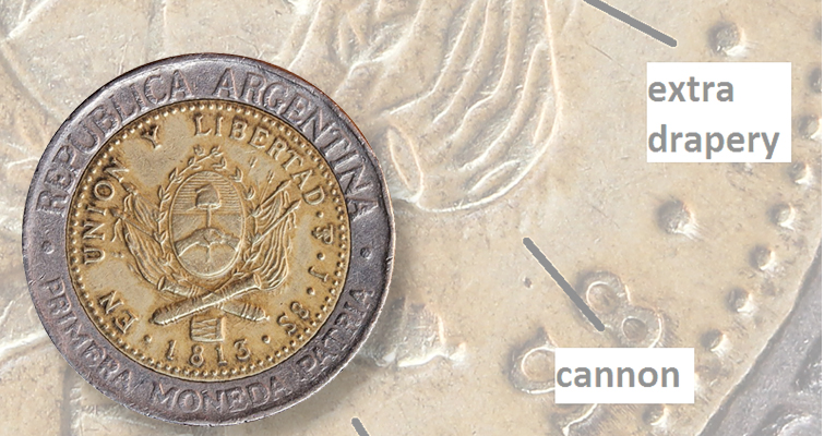 Cause of weak hubbings on Argentinian doubled die coin uncertain: Collectors' Clearinghouse