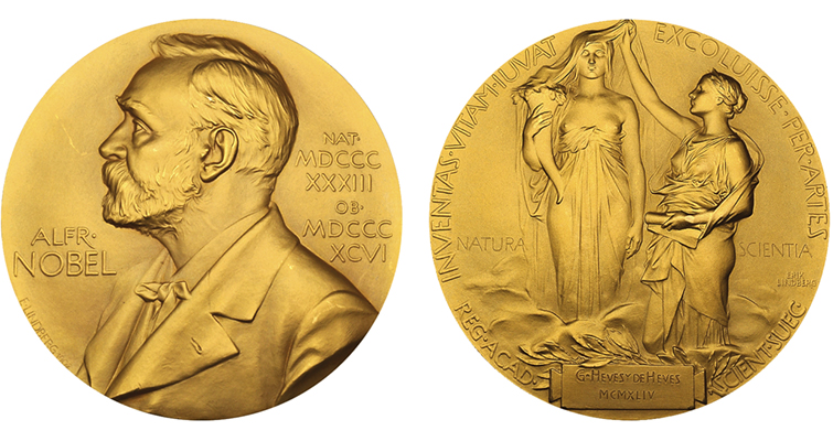 De Hevesy gold Nobel medal merged