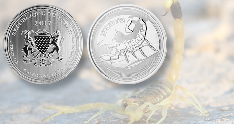 Scottsdale Mint produces Deathstalker Scorpion silver bullion coin for Chad