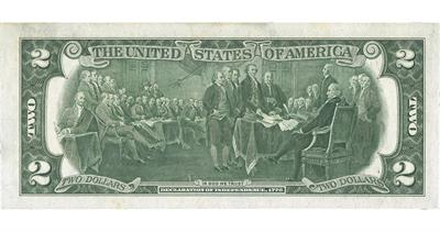 Declaration of Independence two-dollar bill