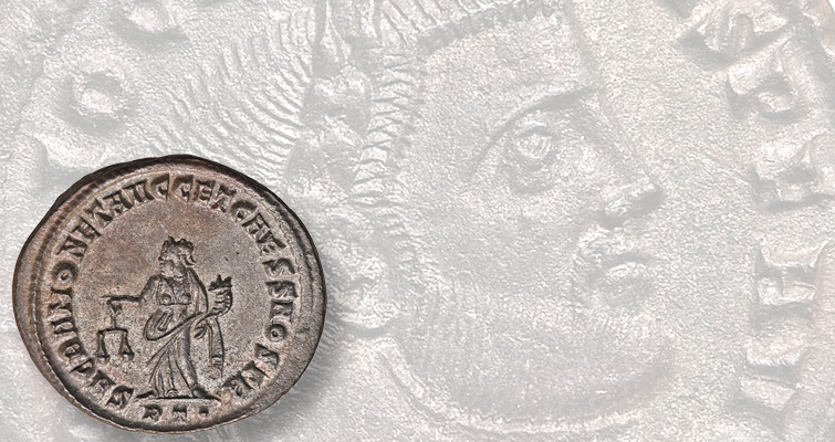 The emperor Diocletian appears on the obverse of this ancient Roman billon follis. On the reverse is a religious representation. The emperor championed traditional Roman religious practices, requiring his subjects to conform or face death.