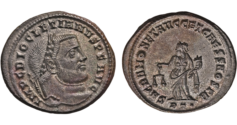 The emperor Diocletian appears on the obverse of this ancient Roman billon follis. On the reverse is a religious representation. The emperor championed traditional Roman religious practices, requiring his subjects, particularly Christians, to conform or face death.