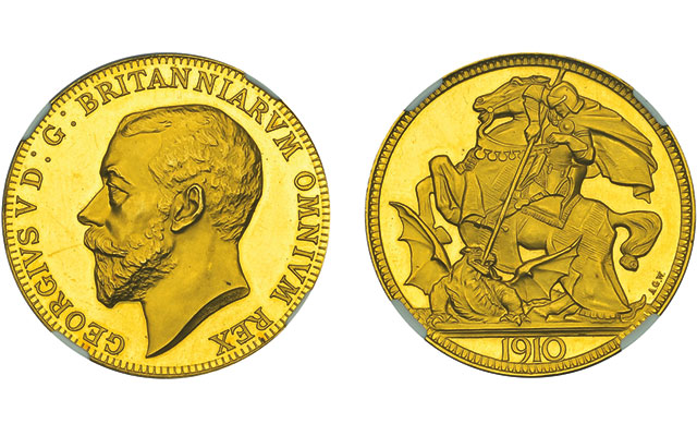 George V gold pattern crown by Wyon realizes $219,364 U.S. in Dix Noonan Webb auction