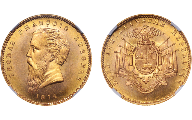 South Africa's first gold coin, 1874 Burgers pond with Fine Beard, realizes £93,600