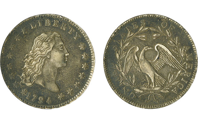 AU-50 1794 Flowing Hair silver dollar realizes $437,100 in Jan. 27 Spink auction