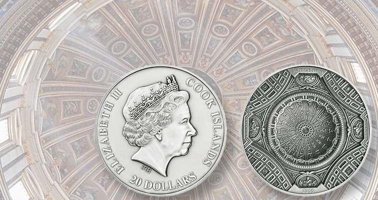 St. Peter's Basilica on Ultra High Relief silver $20 coin