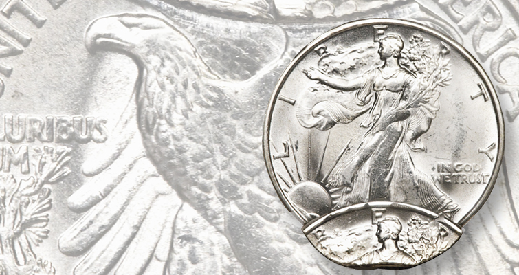 double-struck undated San Francisco Mint Walking Liberty half dollar