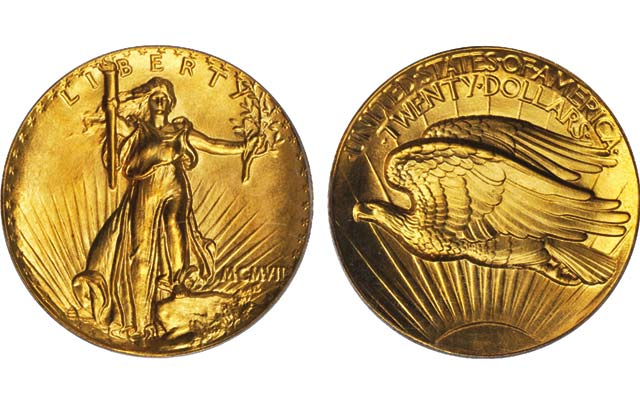 This Ultra High Relief MCMVII (1907) Saint-Gaudens double eagle is being offered for sale in May by Stack's Bowers.