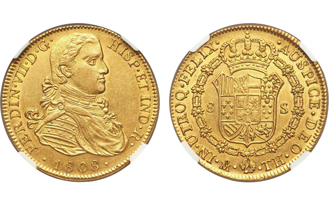 In January, Heritage auctioned this Uncirculated 1808 gold Ferdinand VII 8-escudo coin, similar to the one seen in the 'Mickey Mouse Club' miniseries 'The Hardy Boys: The Mystery of the Applegate Treasure.'