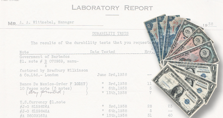 Notes used in durability tests for American Banknote Co. surface