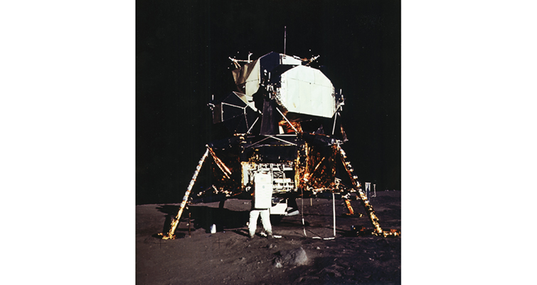 lunar module Eagle rests on the surface of the moon