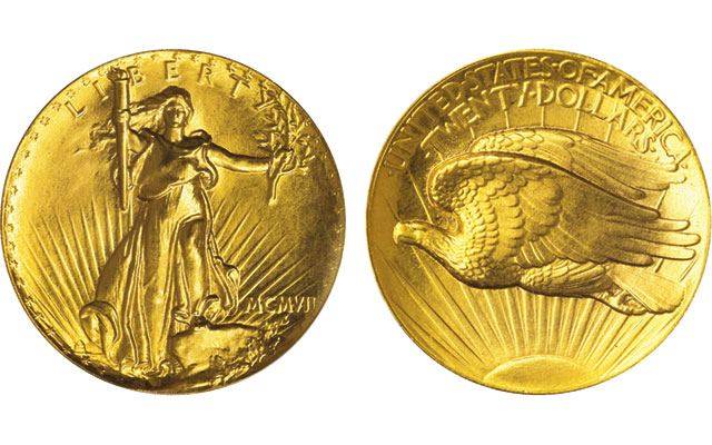 This PCGS PR68 1907 Ultra High Relieve Saint Gaudens double eagle fetched $1.84 million at auction in 2007.