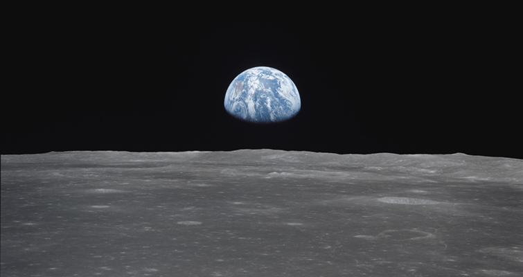 Earthrise over moon from Apollo 11